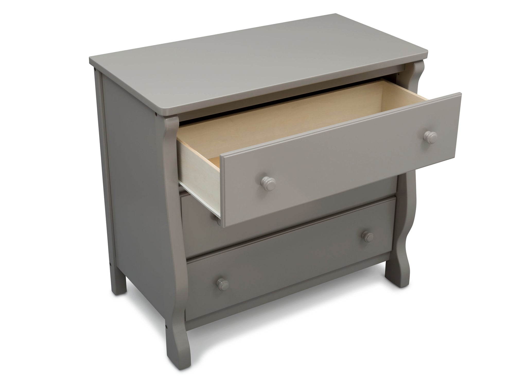 Delta Children Grey (026) Universal 3 Drawer Dresser Open Drawer Silo View