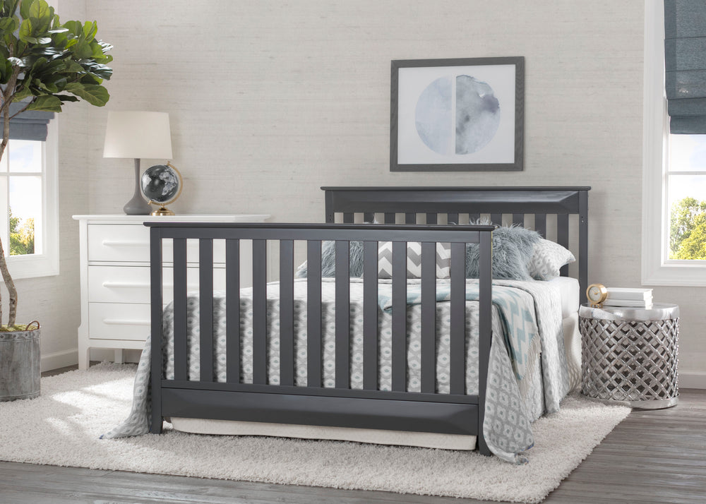 Delta Children Charcoal (029) Cameron 4-in-1 Convertible Baby Crib Full Bed Roomshot a2a