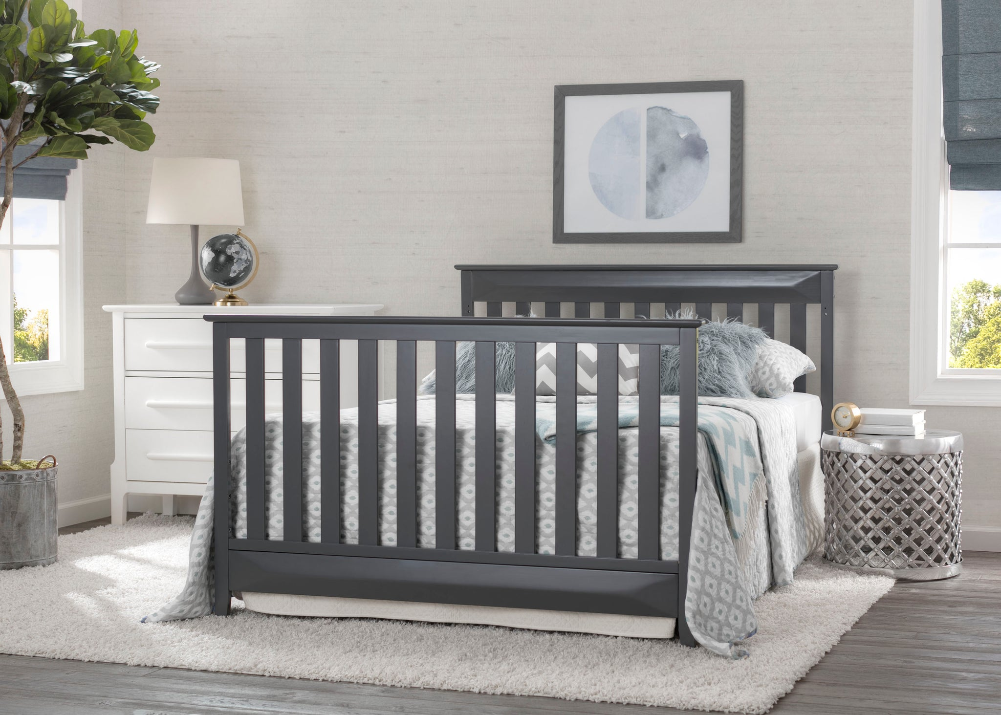 Delta Children Charcoal Grey (029) Cameron 4-in-1 Convertible Baby Crib Full Bed Roomshot a2a