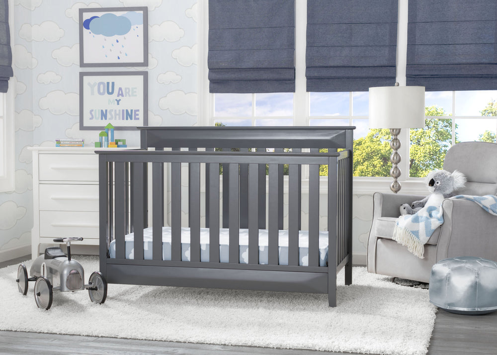 Delta Children Charcoal (029) Cameron 4-in-1 Convertible Baby Crib Roomshot a1a
