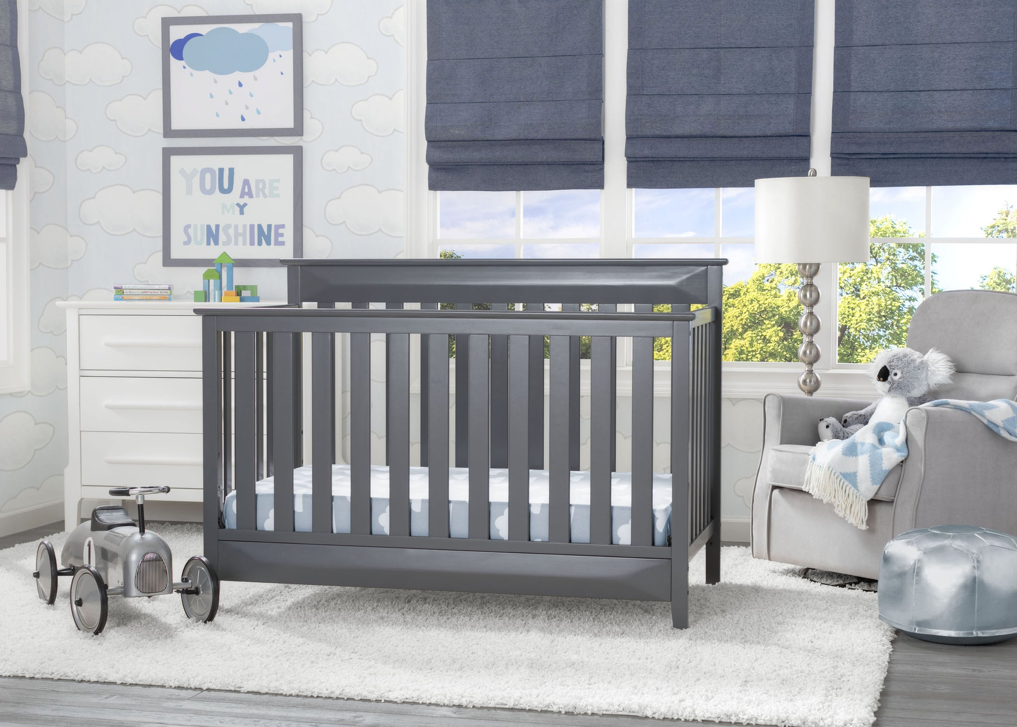 Delta Children Charcoal Grey (029) Cameron 4-in-1 Convertible Baby Crib Roomshot a1a