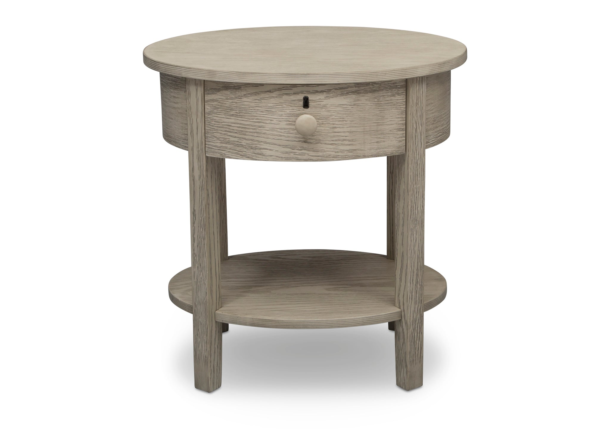 Delta Children Textured Limestone (1340) Farmhouse Nightstand with Drawer, Front Silo View