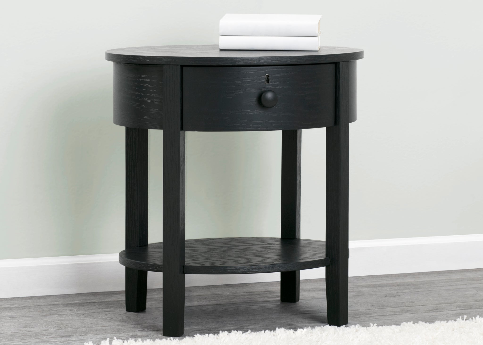 Delta Children Textured Midnight Grey (1347) Farmhouse Nightstand with Drawer, Front Silo View