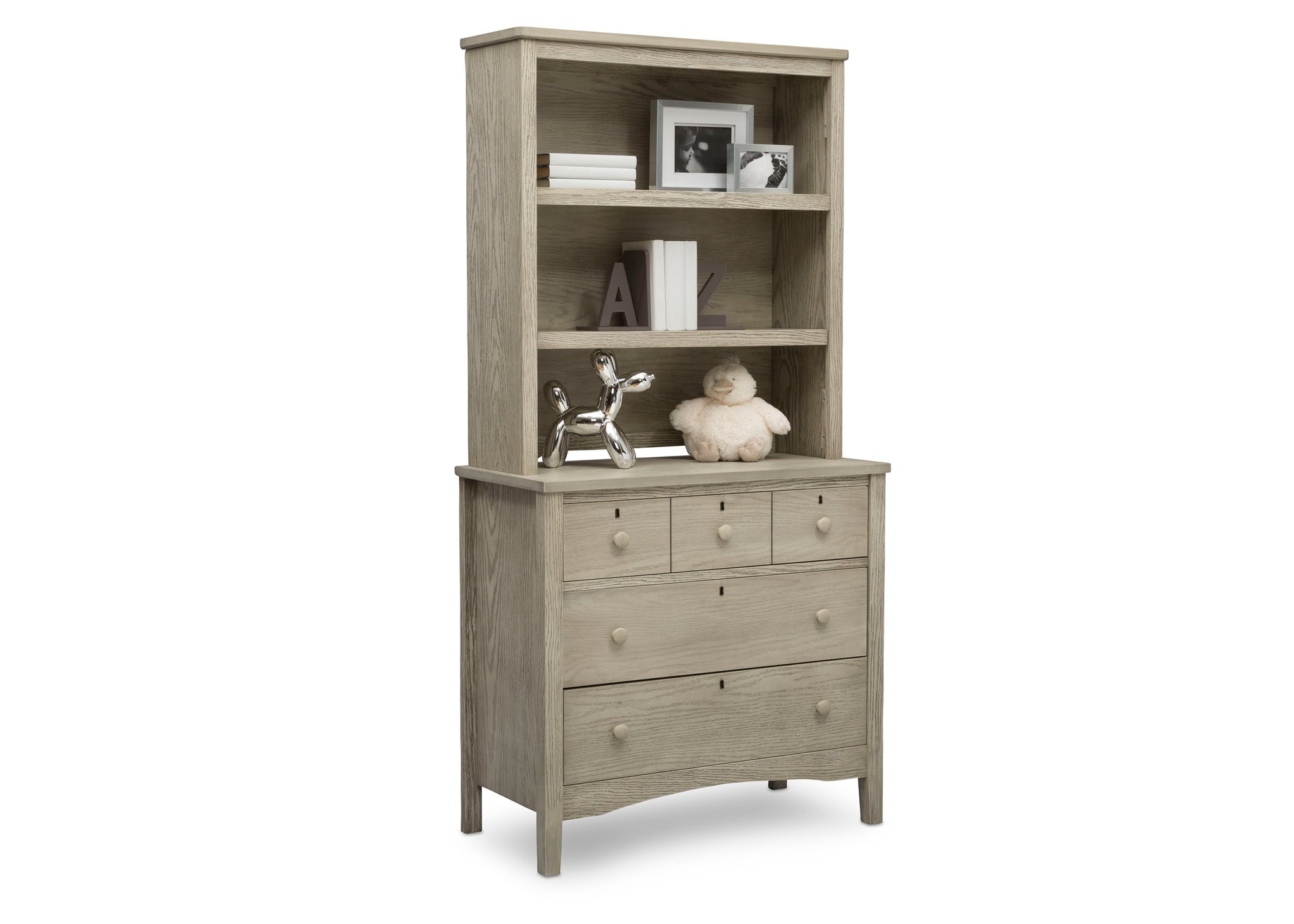 Delta Children Textured Limestone (1340) Farmhouse 3 Drawer Dresser with Changing Top, Right Silo View with Hutch