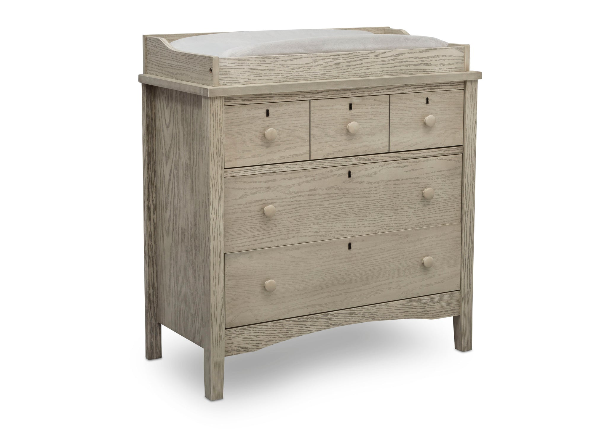 Delta Children Textured Limestone (1340) Farmhouse 3 Drawer Dresser with Changing Top, Right Silo View