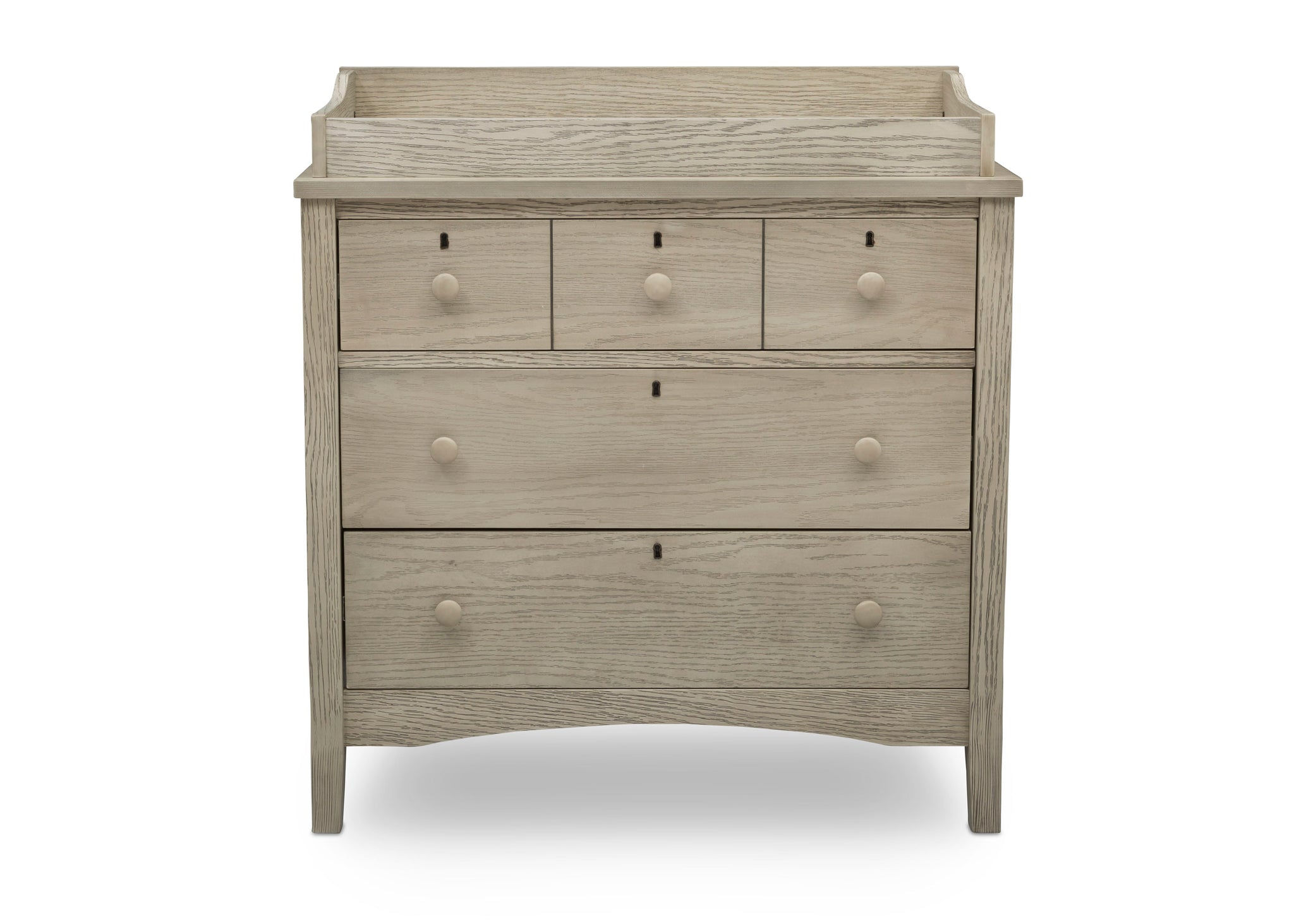 Delta Children Textured Limestone (1340) Farmhouse 3 Drawer Dresser with Changing Top, Front Silo View