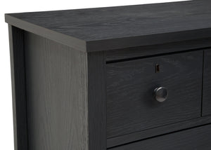 Delta Children Textured Midnight Grey (1347) Farmhouse 3 Drawer Dresser with Changing Top, Hangtag View