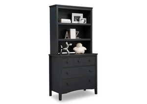 Delta Children Textured Midnight Grey (1347) Farmhouse 3 Drawer Dresser with Changing Top, Right Silo View with Hutch