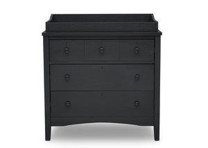 Delta Children Textured Midnight Grey (1347) Farmhouse 3 Drawer Dresser with Changing Top, Front Silo View