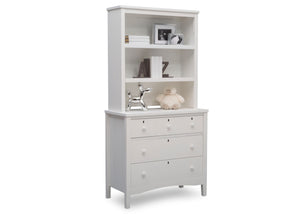 Delta Children Textured White (1349) Farmhouse 3 Drawer Dresser with Changing Top, Right Silo View with Hutch