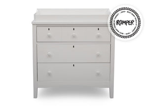 Delta Children Textured White (1349) Farmhouse 3 Drawer Dresser with Changing Top, Front Silo View