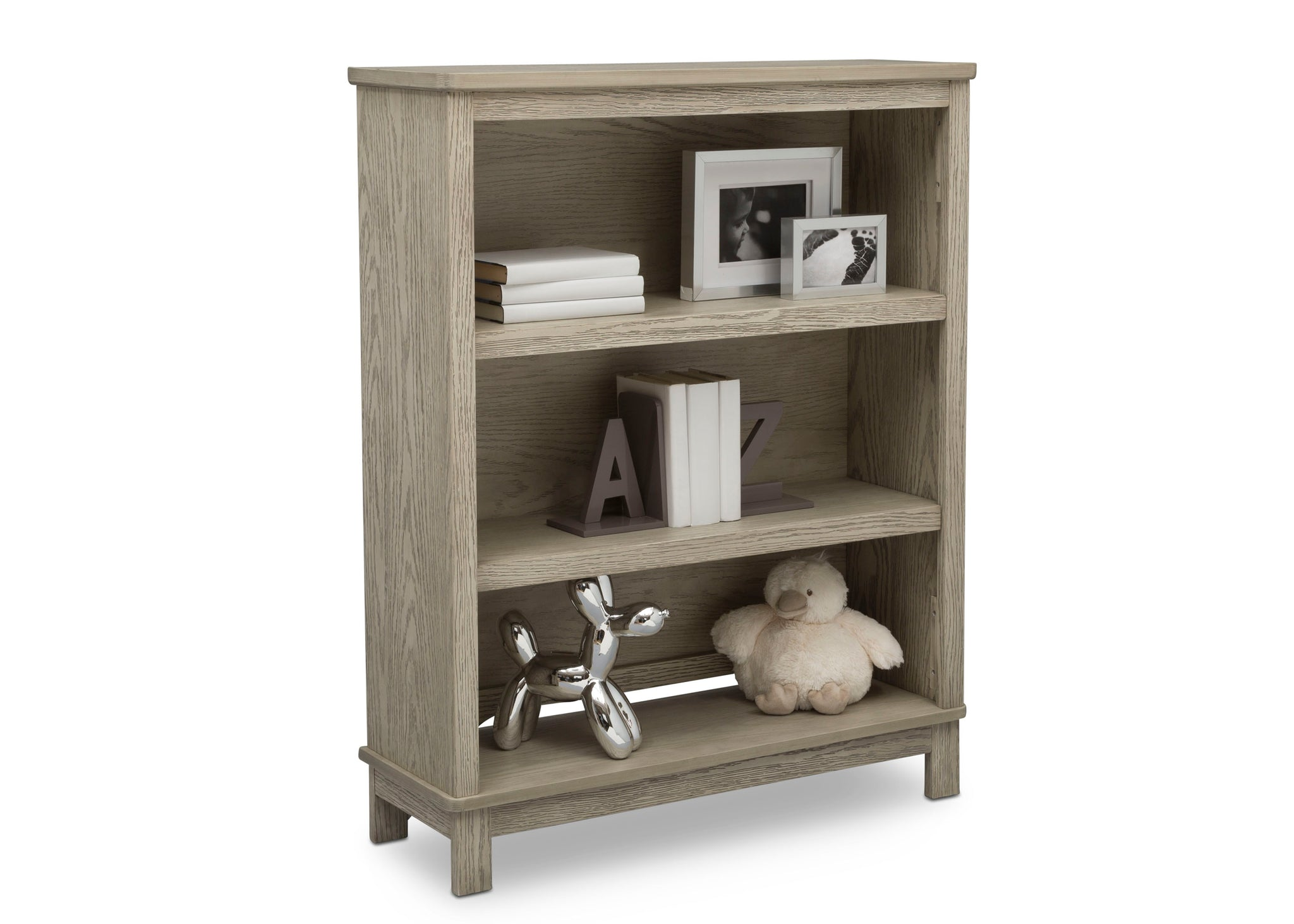 Delta Children Textured Limestone (1340) Farmhouse Bookcase/Hutch, Right Silo View with Props