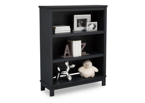 Delta Children Textured Midnight Grey (1347) Farmhouse Bookcase/Hutch, Right Silo View with Props