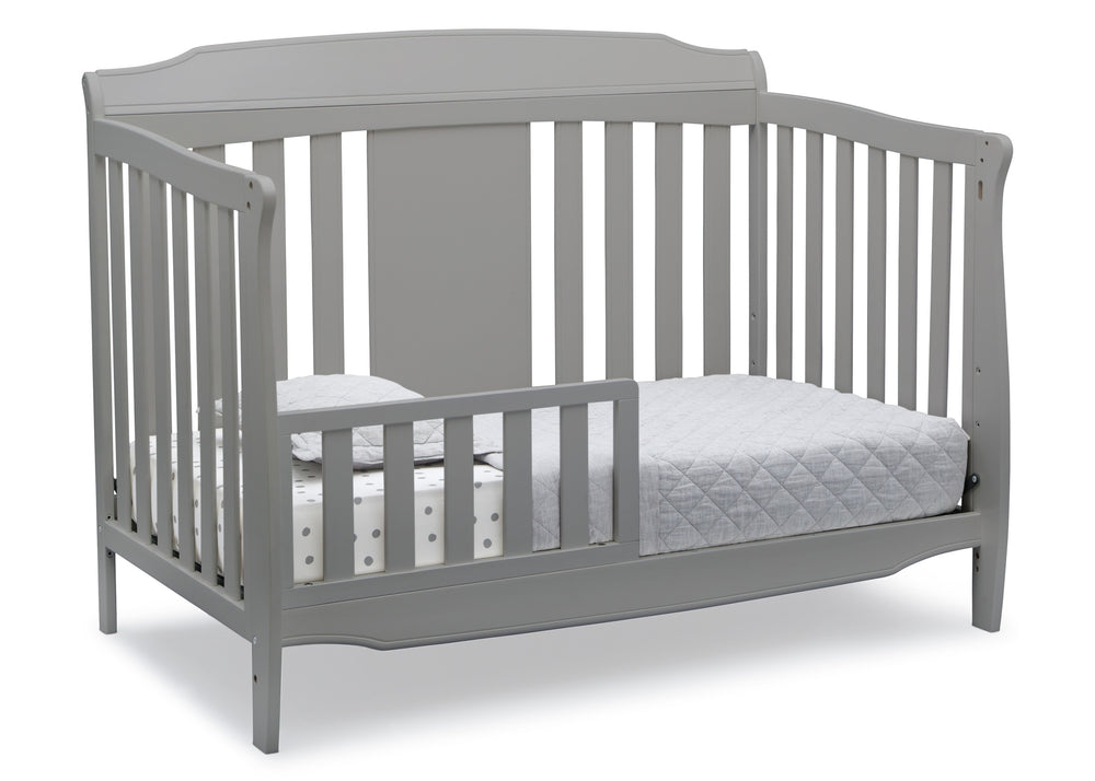 Delta Children Grey (026) Westminster 6-in-1 Convertible Crib, Right Toddler Bed Silo View