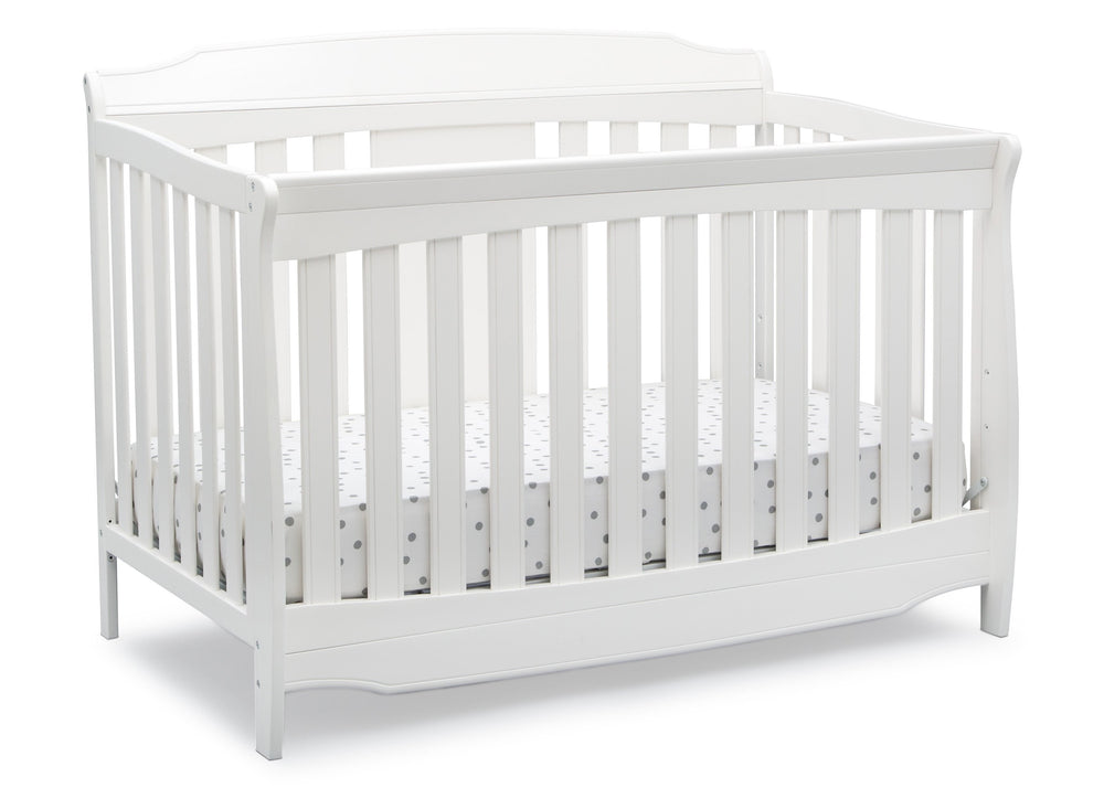 Delta Children Bianca White (130) Westminster 6-in-1 Convertible Crib, Right Crib Silo View