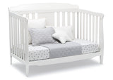 Delta Children Bianca White (130) Westminster 6-in-1 Convertible Crib, Right Day Bed Silo View