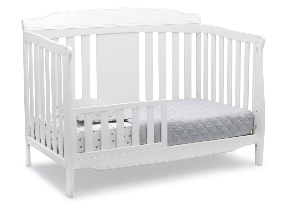 Delta Children Bianca White (130) Westminster 6-in-1 Convertible Crib, Right Toddler Bed Silo View