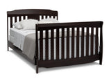 Delta Children Dark Chocolate (207) Westminster 6-in-1 Convertible Crib, Right Full Bed Silo View