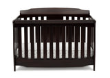 Delta Children Dark Chocolate (207) Westminster 6-in-1 Convertible Crib, Front Crib Silo View