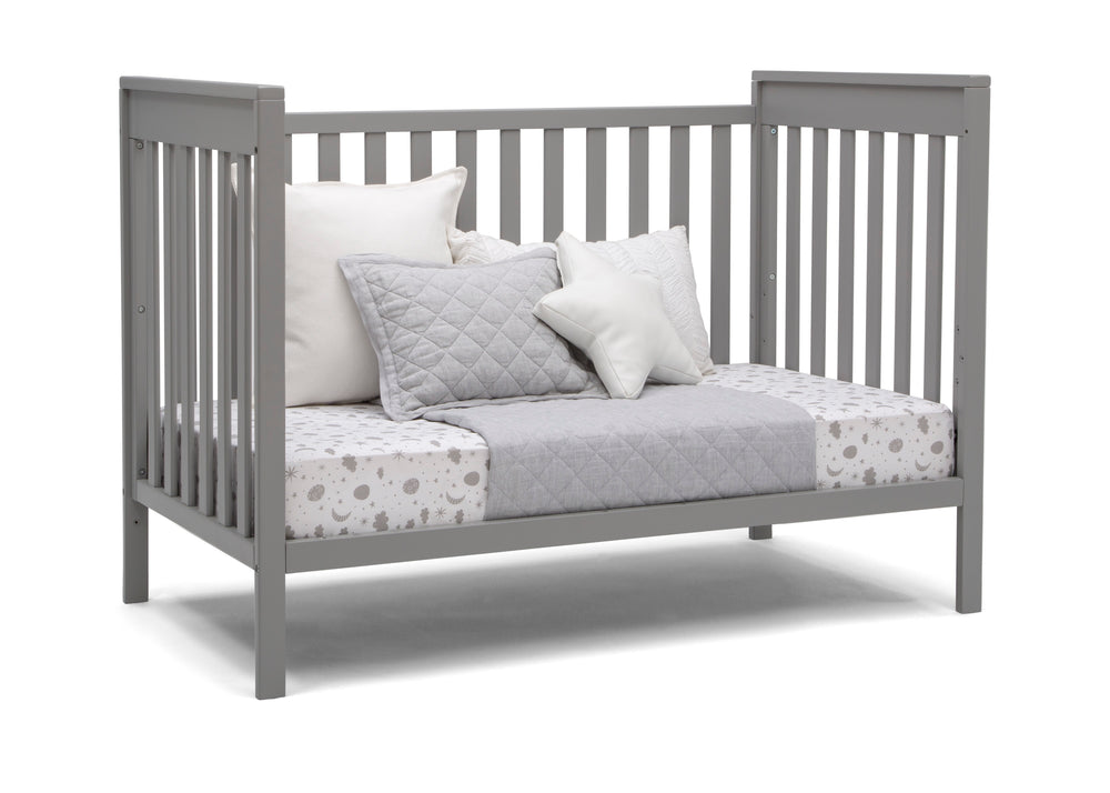 Delta Children Grey (026) Mercer 6-in-1 Convertible Crib, Right Day Bed Silo View