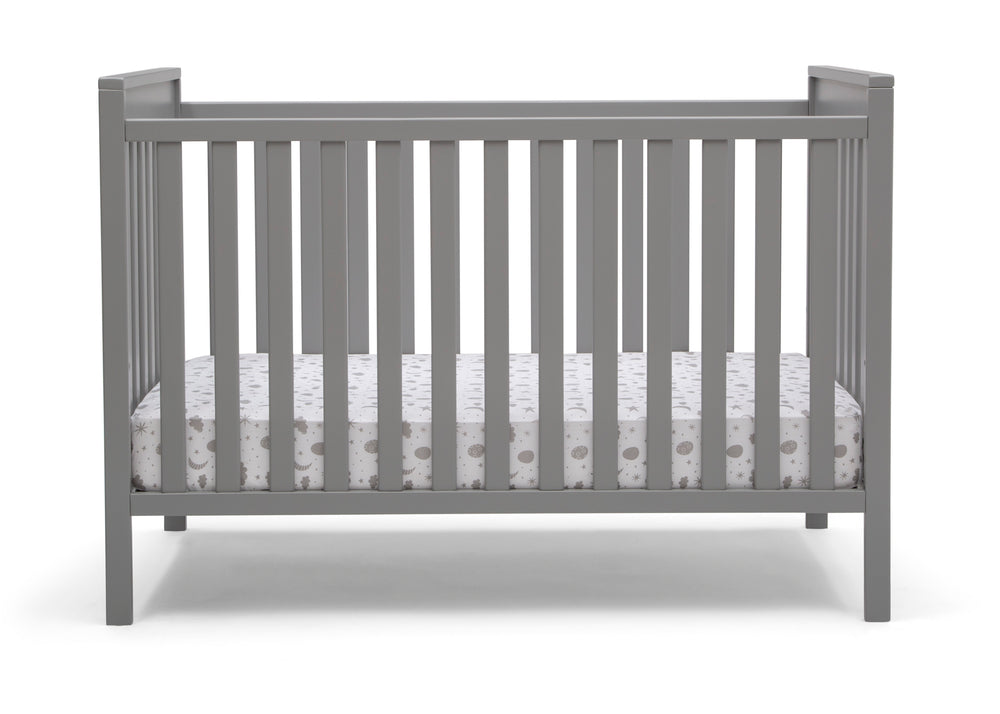 Delta Children Grey (026) Mercer 6-in-1 Convertible Crib, Front Crib Silo View