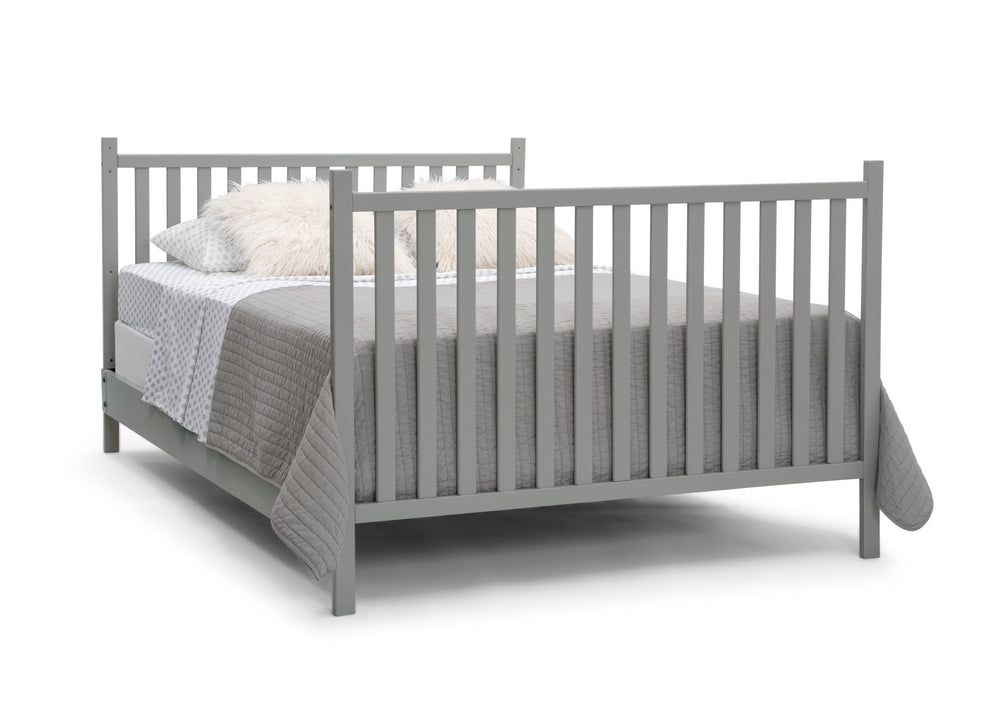 Delta Children Grey (026) Mercer 6-in-1 Convertible Crib, Right Full Bed with Headboard and Footboard Silo View