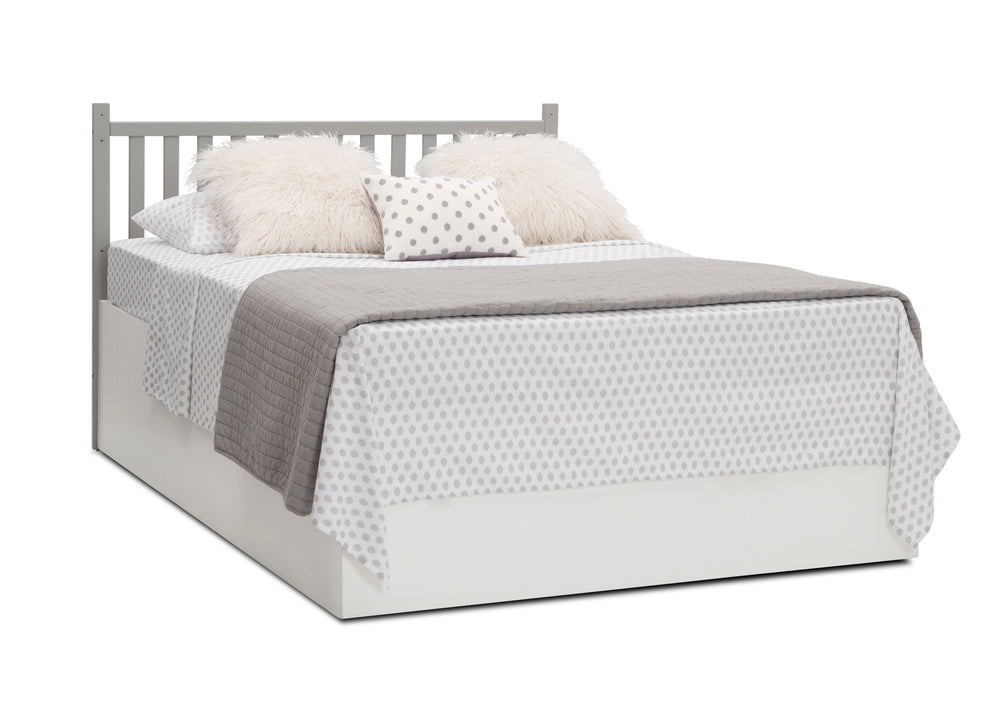 Delta Children Grey (026) Mercer 6-in-1 Convertible Crib, Right Full Bed with Headboard Silo View