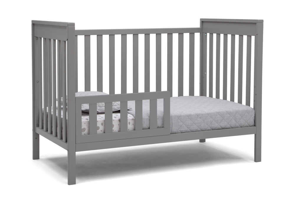 Delta Children Grey (026) Mercer 6-in-1 Convertible Crib, Right Toddler Bed Silo View