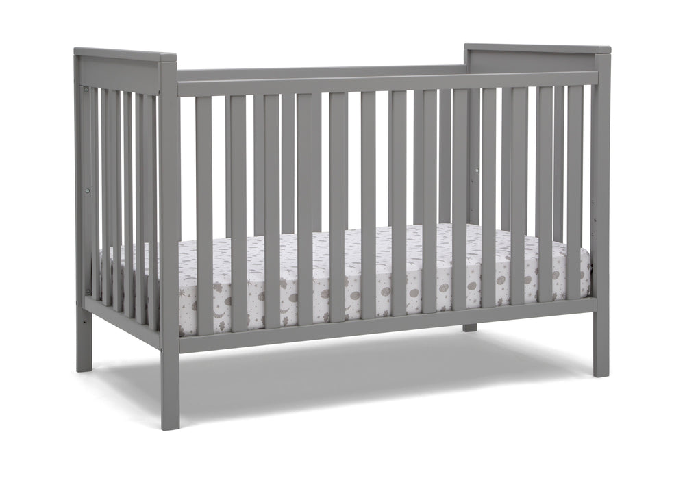 Delta Children Grey (026) Mercer 6-in-1 Convertible Crib, Right Crib Silo View