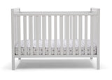Delta Children Bianca White (130) Mercer 6-in-1 Convertible Crib, Front Crib Silo View