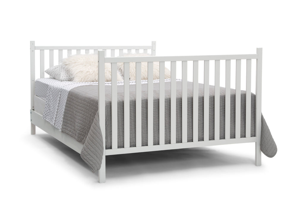 Delta Children Bianca White (130) Mercer 6-in-1 Convertible Crib, Right Full Bed with Headboard and Footboard Silo View