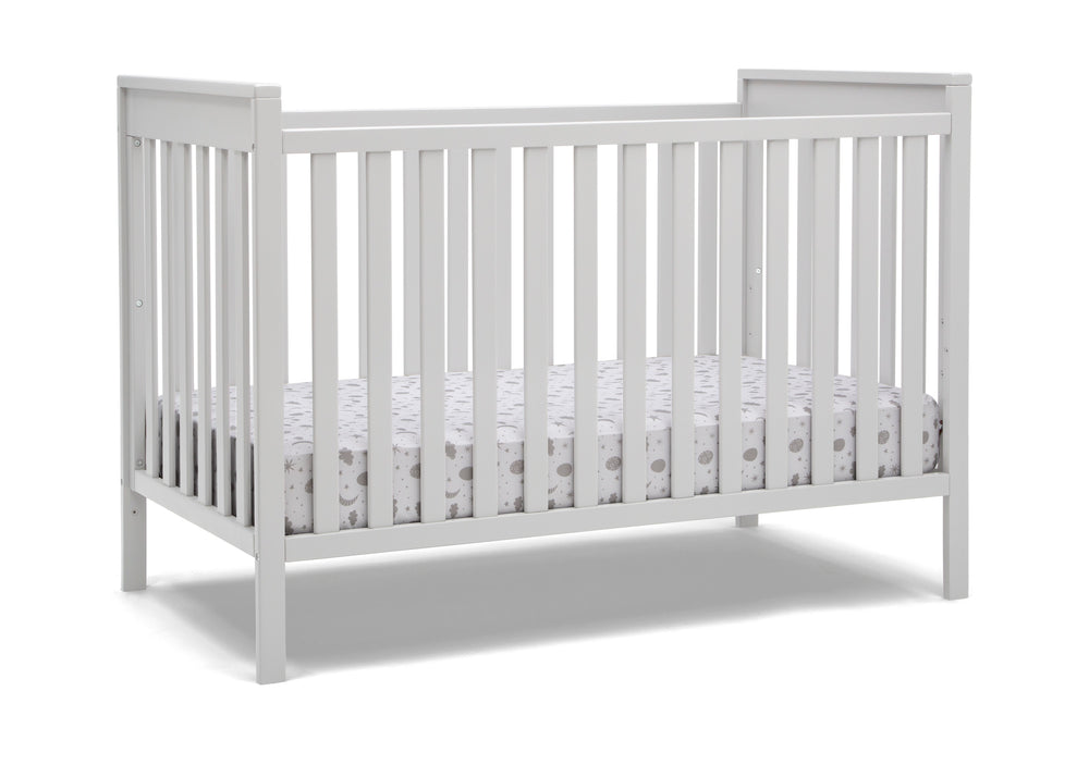 Delta Children Bianca White (130) Mercer 6-in-1 Convertible Crib, Right Crib Silo View