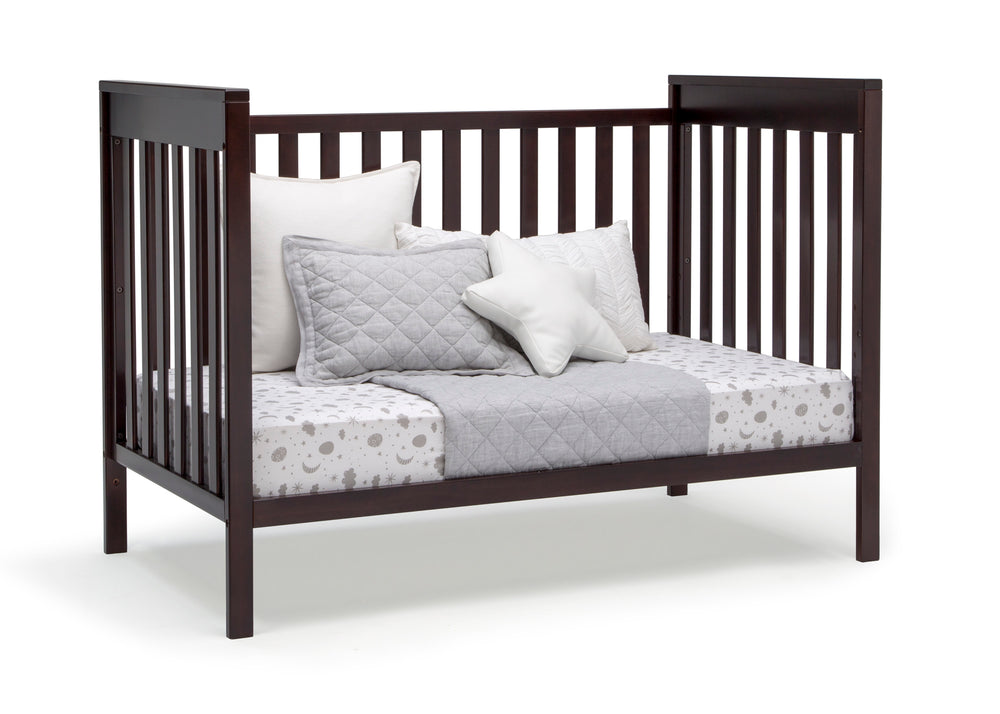 Delta Children Dark Chocolate (207) Mercer 6-in-1 Convertible Crib, Right Day Bed Silo View
