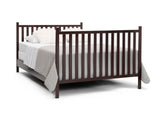 Delta Children Dark Chocolate (207) Mercer 6-in-1 Convertible Crib, Right Full Bed with Headboard and Footboard Silo View