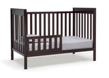 Delta Children Dark Chocolate (207) Mercer 6-in-1 Convertible Crib, Right Toddler Bed Silo View