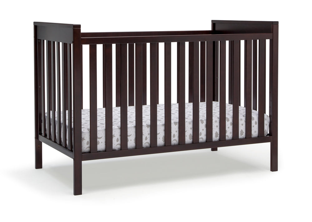 Delta Children Dark Chocolate (207) Mercer 6-in-1 Convertible Crib, Right Crib Silo View