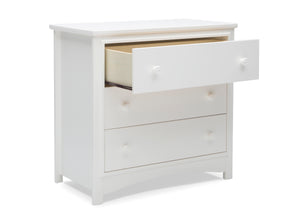 Delta Children Bianca White (130) Perry 3 Drawer Dresser with Changing Top, Open Drawer View