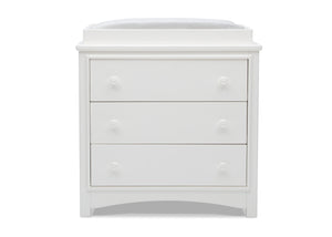 Delta Children Bianca White (130) Perry 3 Drawer Dresser with Changing Top, Front Silo View