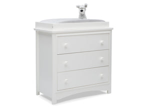 Delta Children Bianca White (130) Perry 3 Drawer Dresser with Changing Top, Right Silo View