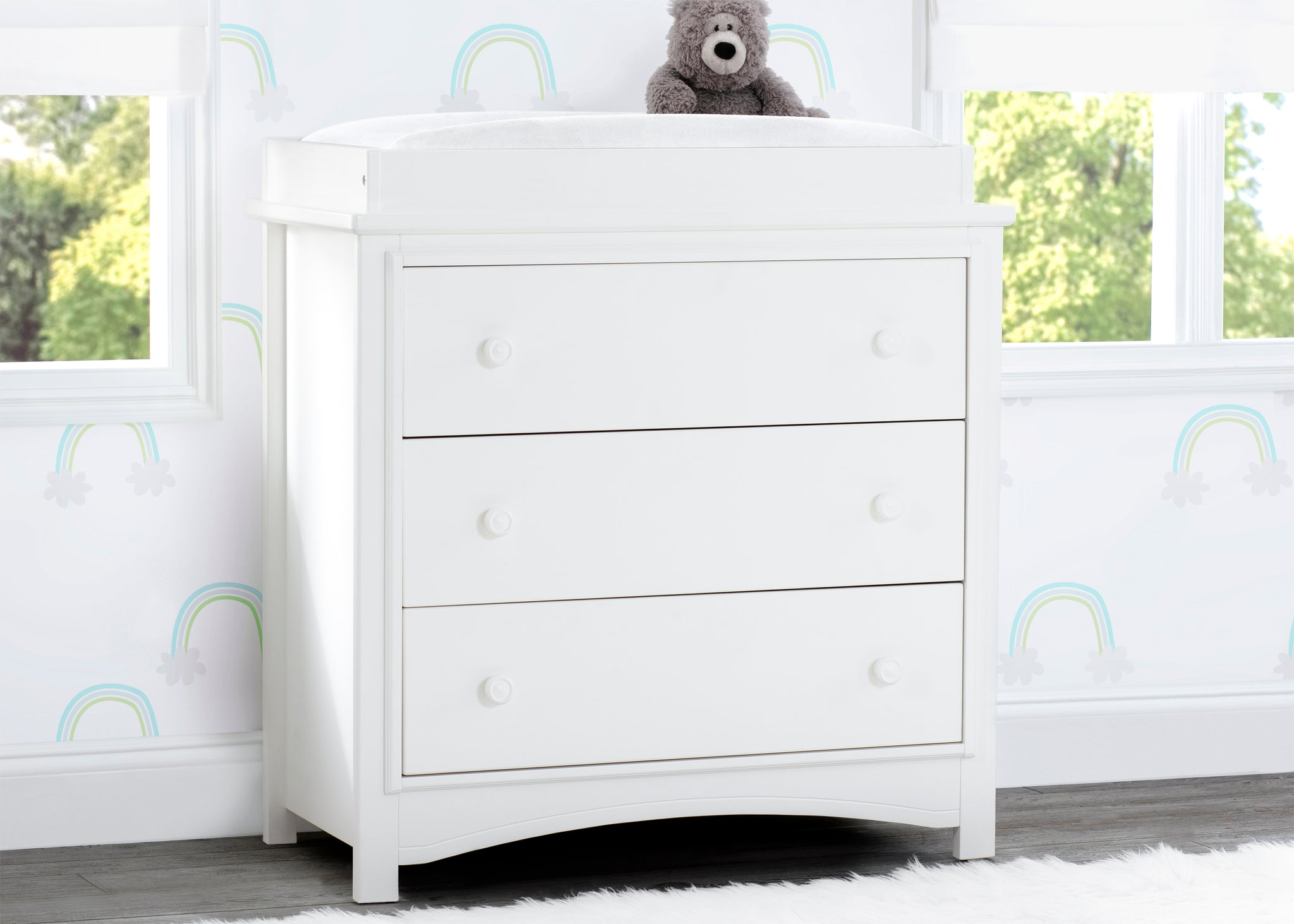 Delta Children Bianca White (130) Perry 3 Drawer Dresser with Changing Top, Hangtag View