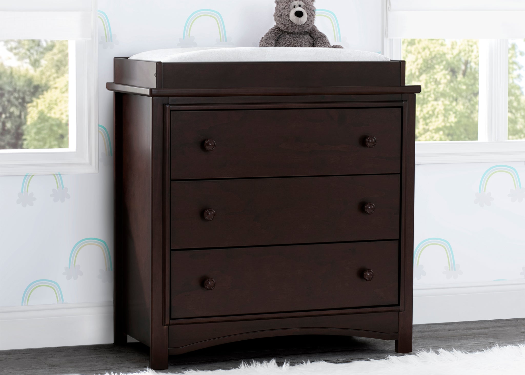 Delta Children Walnut Espresso (1324) Perry 3 Drawer Dresser with Changing Top, Hangtag View