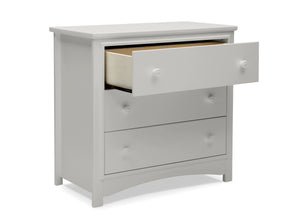 Delta Children Moonstruck Grey (1351) Perry 3 Drawer Dresser with Changing Top, Open Drawer View