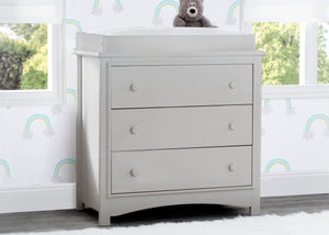 Delta Children Moonstruck Grey (1351) Perry 3 Drawer Dresser with Changing Top, Hangtag View