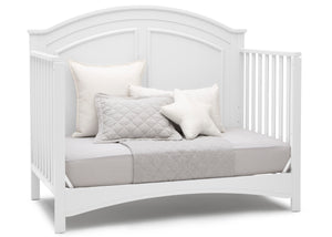 Delta Children Bianca White (130) Perry 6-in-1 Convertible Crib, Right Day Bed Silo View