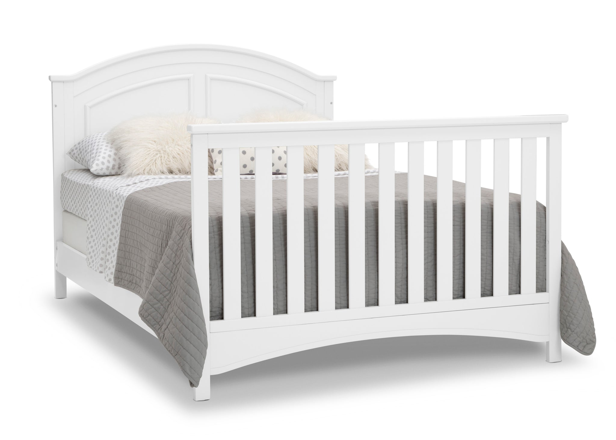 Delta Children Bianca White (130) Perry 6-in-1 Convertible Crib, Right Full Bed with Headboard and Footboard Silo View
