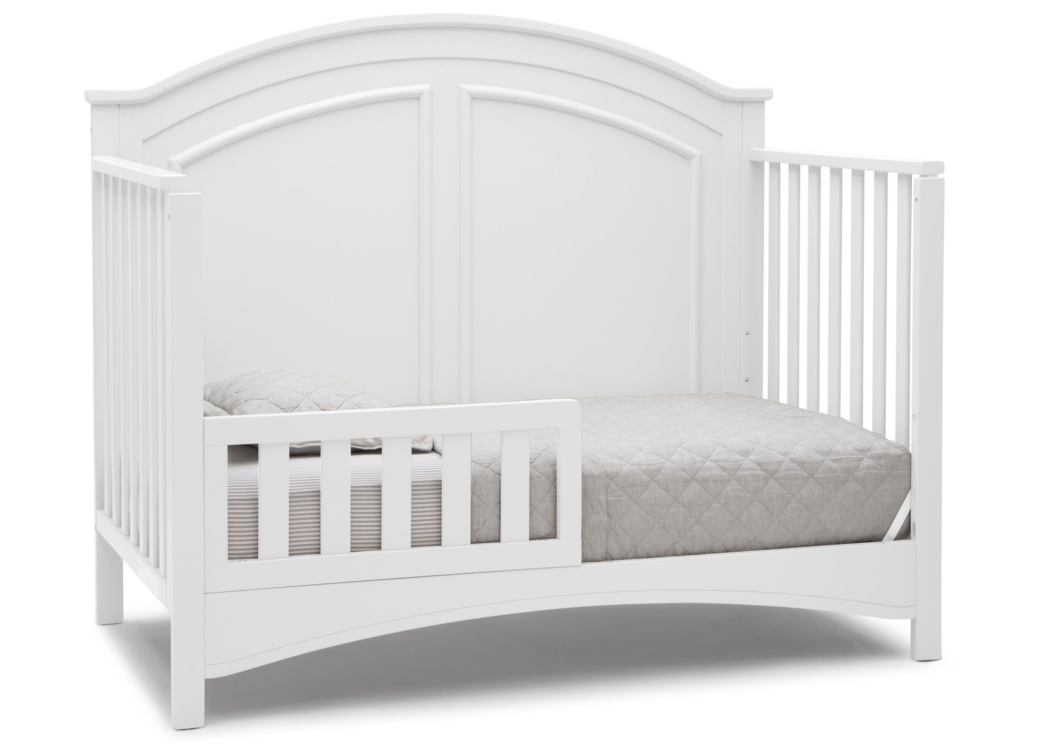 Delta Children Bianca White (130) Perry 6-in-1 Convertible Crib, Right Toddler Bed Silo View