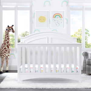 Delta Children Bianca White (130) Perry 6-in-1 Convertible Crib, Room View