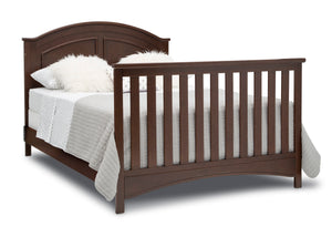 Delta Children Walnut Espresso (1324) Perry 6-in-1 Convertible Crib, Right Full Bed with Headboard and Footboard Silo View