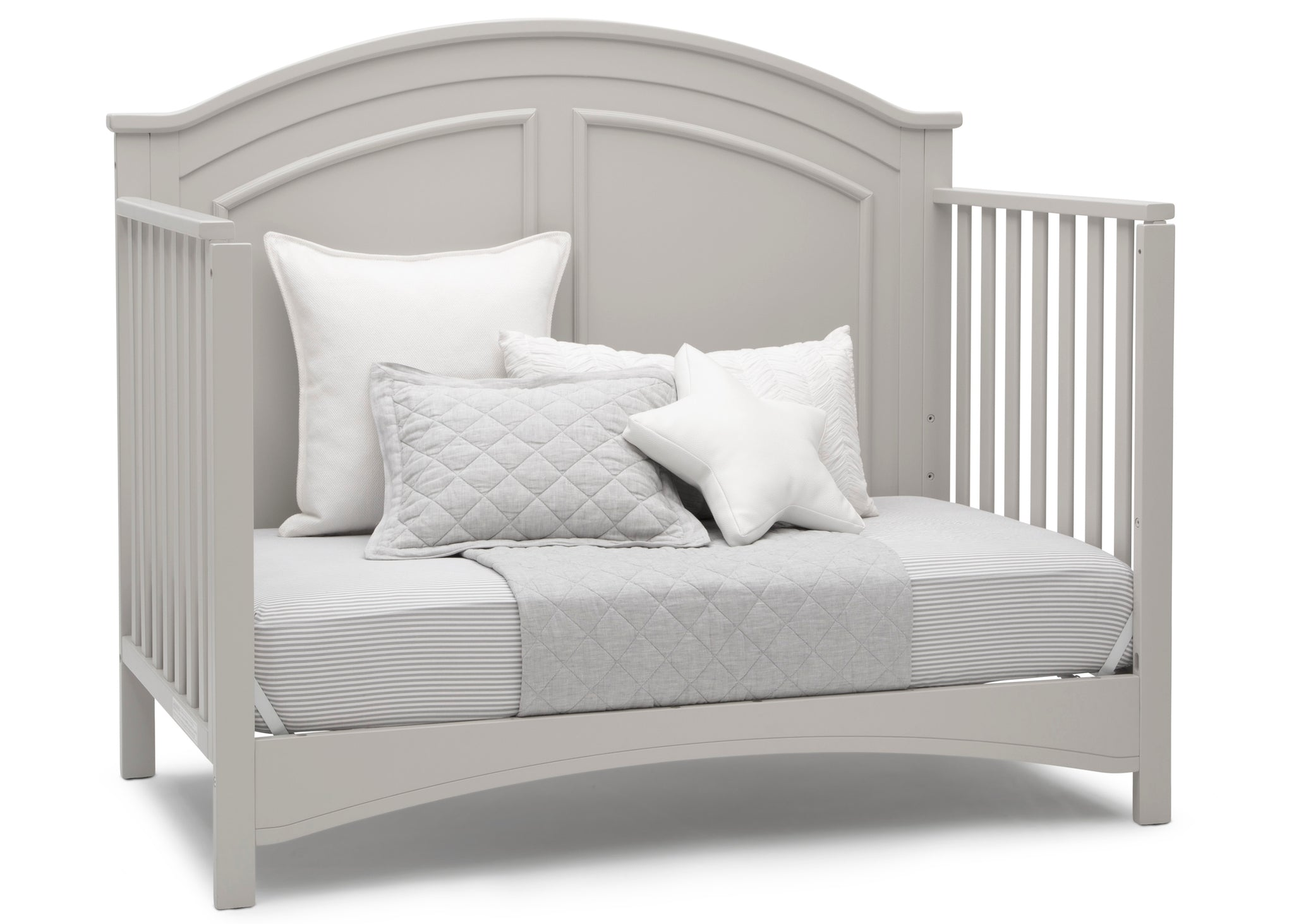 Delta Children Moonstruck Grey (1351) Perry 6-in-1 Convertible Crib, Right Day Bed Silo View