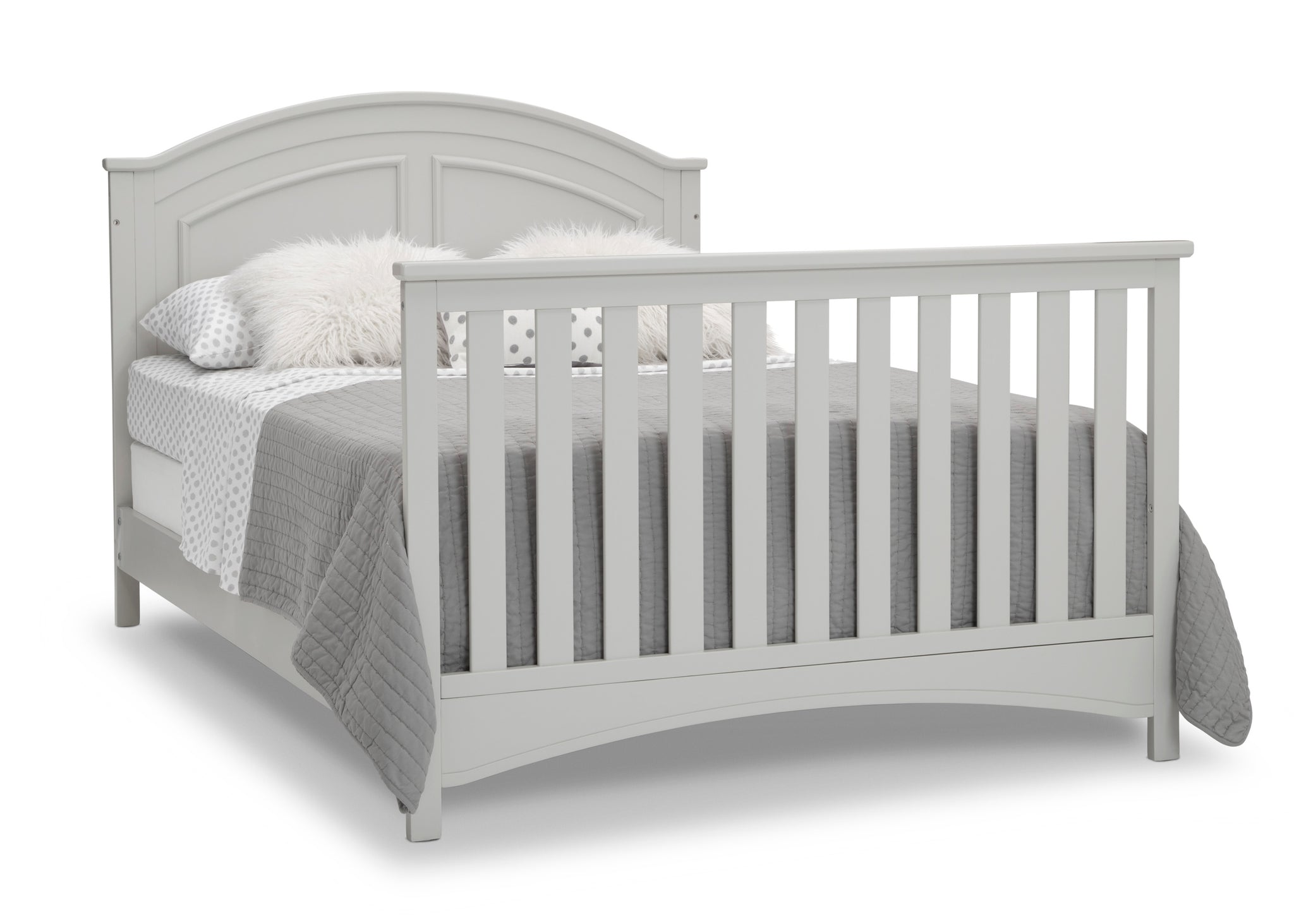 Delta Children Moonstruck Grey (1351) Perry 6-in-1 Convertible Crib, Right Full Bed with Headboard and Footboard Silo View